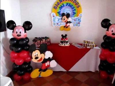DECORACION CON GLOBOS PARA CUMPLEAÑOS MICKEY MOUSE