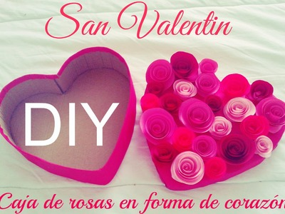 DIY Caja en forma de corazón ♡ tapa de rosas de papel ♡ Detalles para San Valentín
