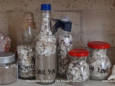 DIY con niños, una botella de cristal con recuerdos de la playa