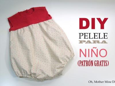 DIY Costura pelele bebe tejido y tela (patrón gratis)