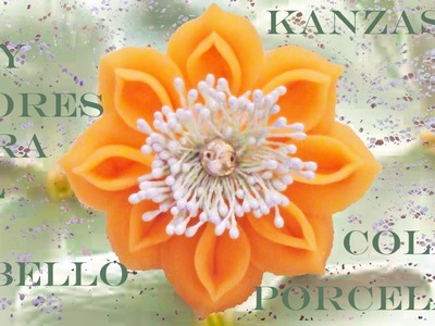 DIY Kanzashi flores de porcelana fría para el cabello - Kanzashi cold porcelain flowers for hair