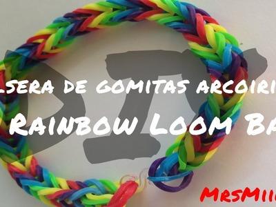 DIY - Pulsera arcoiris gomitas | Rainbow simple loom band | MrsMiiLKa