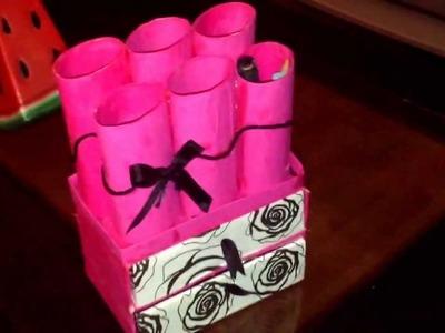 Lapicero de tubos de cartón reciclado ✏️✂️