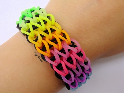 Manualidades DIY: PULSERA de GOMITAS Triple simple (con telar) | Triple single BRACELET