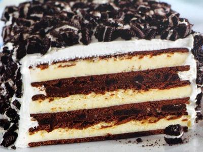 Pastel de OREO con nieve.helado! (SIN HORNO)