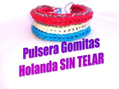 PULSERA GOMITAS SELECCIÓN HOLANDA SIN TELAR.BRAZALETE GOMAS ELASTICAS SIN TELAR