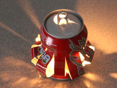 Reciclaje de latas: farolillo. Reciclyng a coke