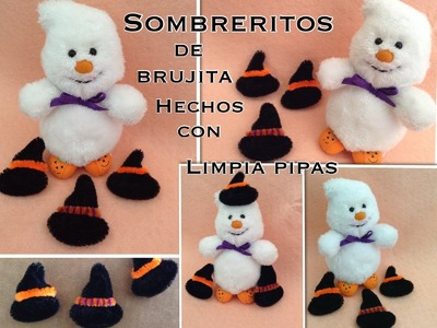 SOMBRERITOS DE BRUJA HECHOS CON LIMPIA PIPAS PARA  HALLOWEEN.- PIPE CLEANER WITCH HATS .