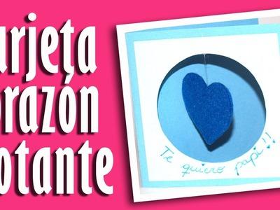 Tarjeta con corazon flotante - DIY - Card with hearts floating.