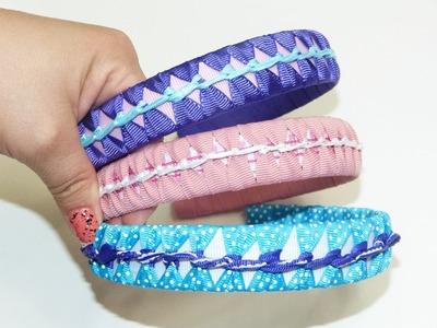 Tutorial Diademas forradas en cinta gros varios colores paso a paso