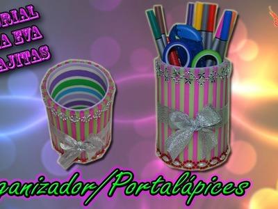 ♥ Tutorial: Organizador o portalápices de Goma Eva  y Pajitas o Popotes♥