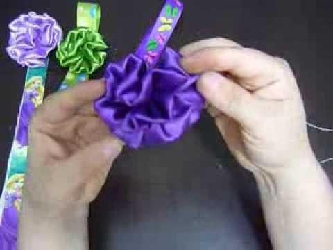 Tutoriales flores en  tela satin para accesorios de niñas  No.111  Manualidades la hormiga
