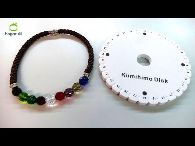 Collar Kumihimo con cuentas de cristal