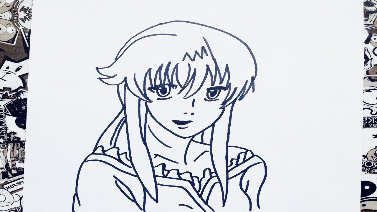 Como dibujar a yuno gasai paso a paso | how to draw yuno