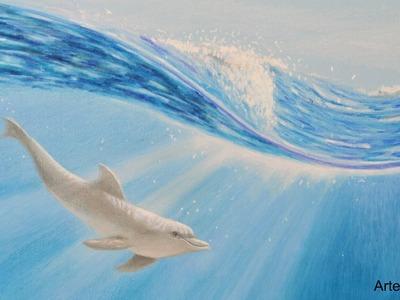 Cómo dibujar un delfín bajo el agua con lápices de colores- Arte Divierte.