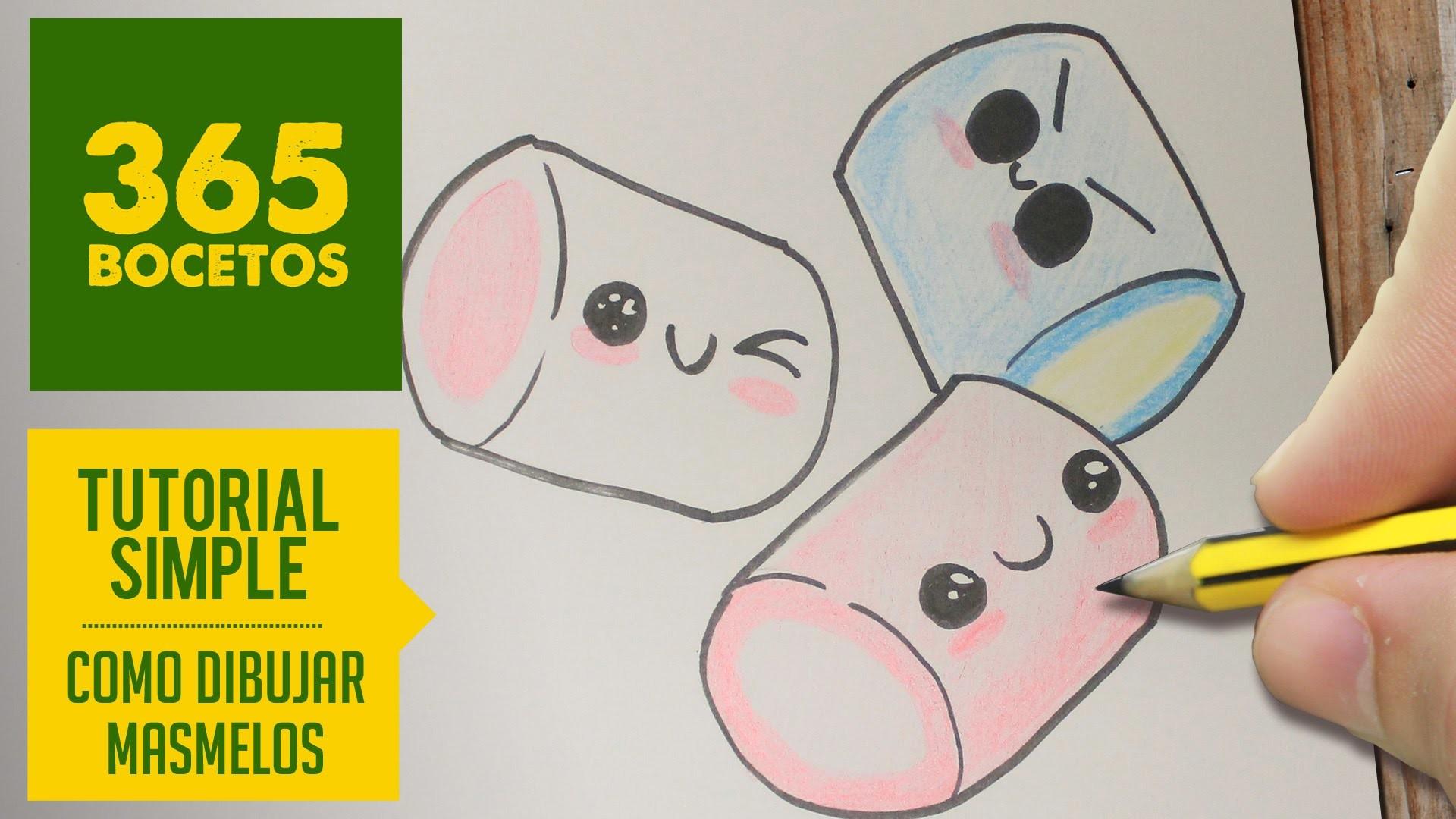 COMO DIBUJAR UN MASMELO KAWAII PASO A PASO - Dibujos kawaii faciles - How to draw a marshmallow