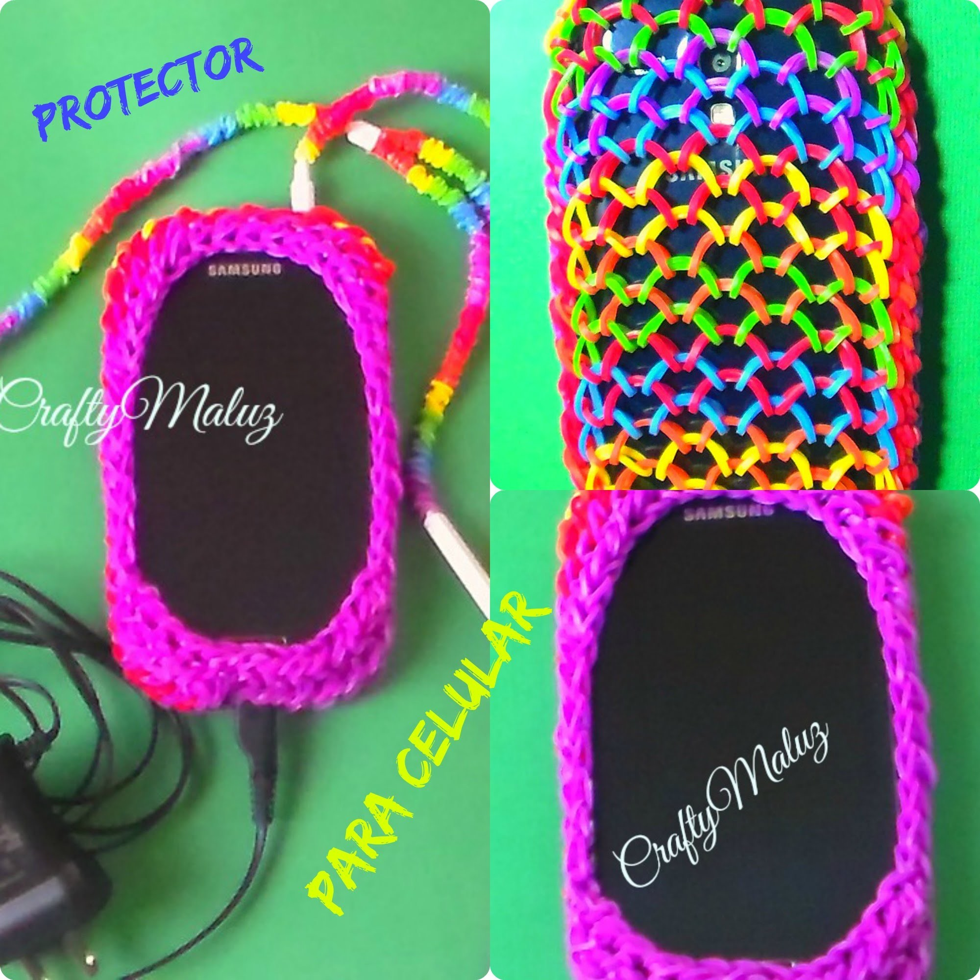 Como Hacer Protector para  Celular de Gomitas o ligas. How To Make A Rainbow Loom Phone Case