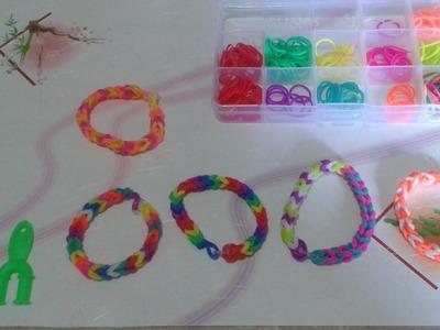 Como hacer pulseras de ligas de colores