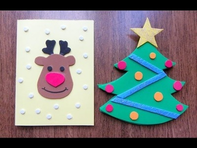 """Como hacer tarjetas navideñas con goma eva """"foami"""""""