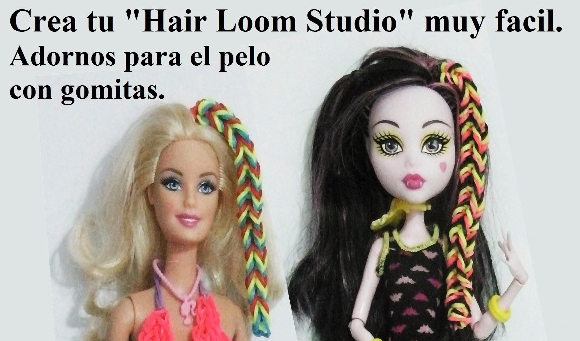 Como hacer un adorno para el pelo de gomita con trenza fishtail para muñecas Barbie o monster high