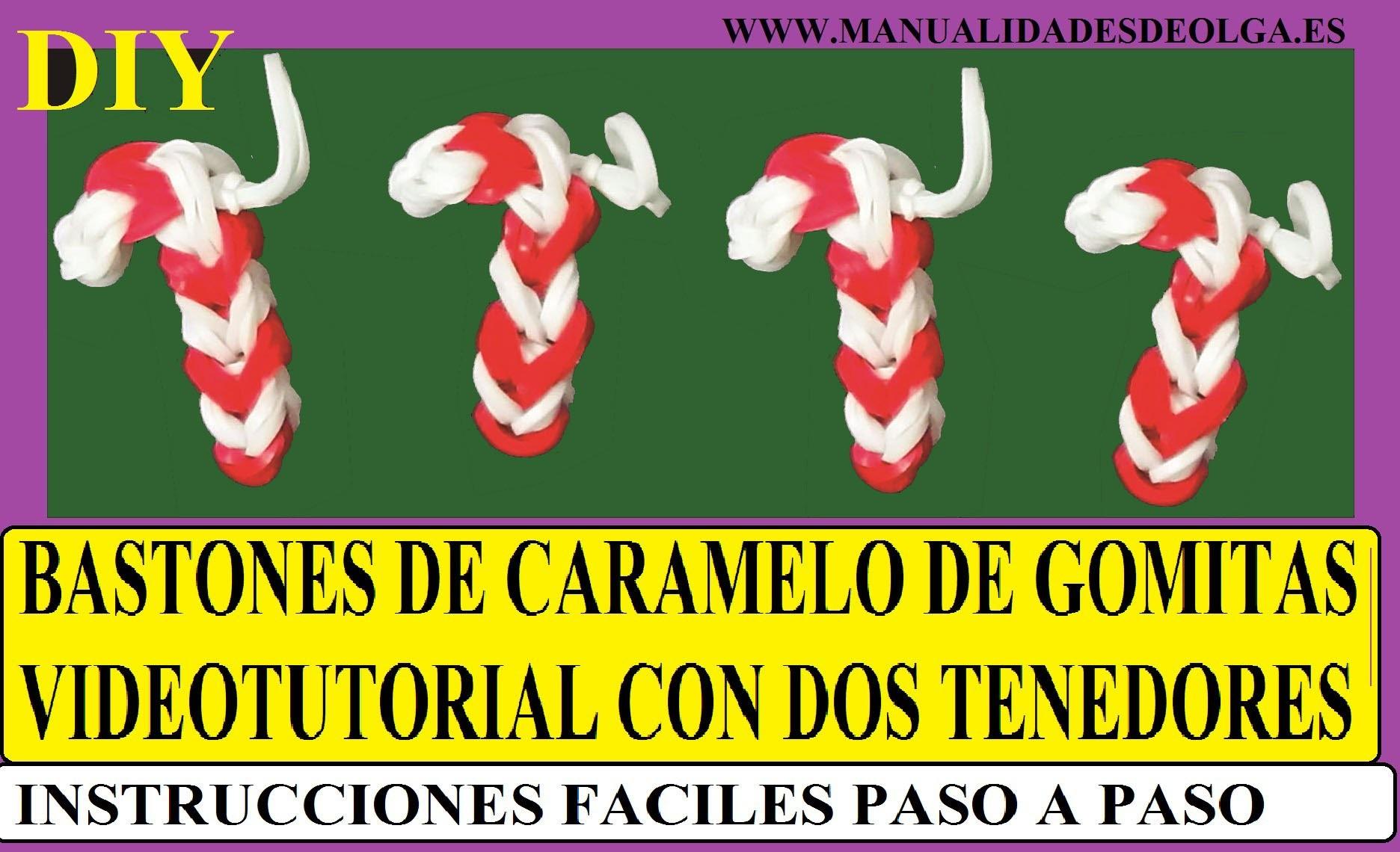 COMO HACER UN BASTON DE CARAMELO DE GOMITAS CON DOS TENEDORES. PARA NAVIDAD