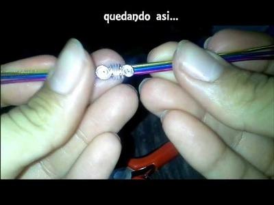 Como hacer un brazalete y anillo 3 colores con Alambre