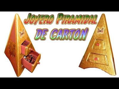 Como hacer un joyero alhajero de carton piramidal, organizador de carton para joyas