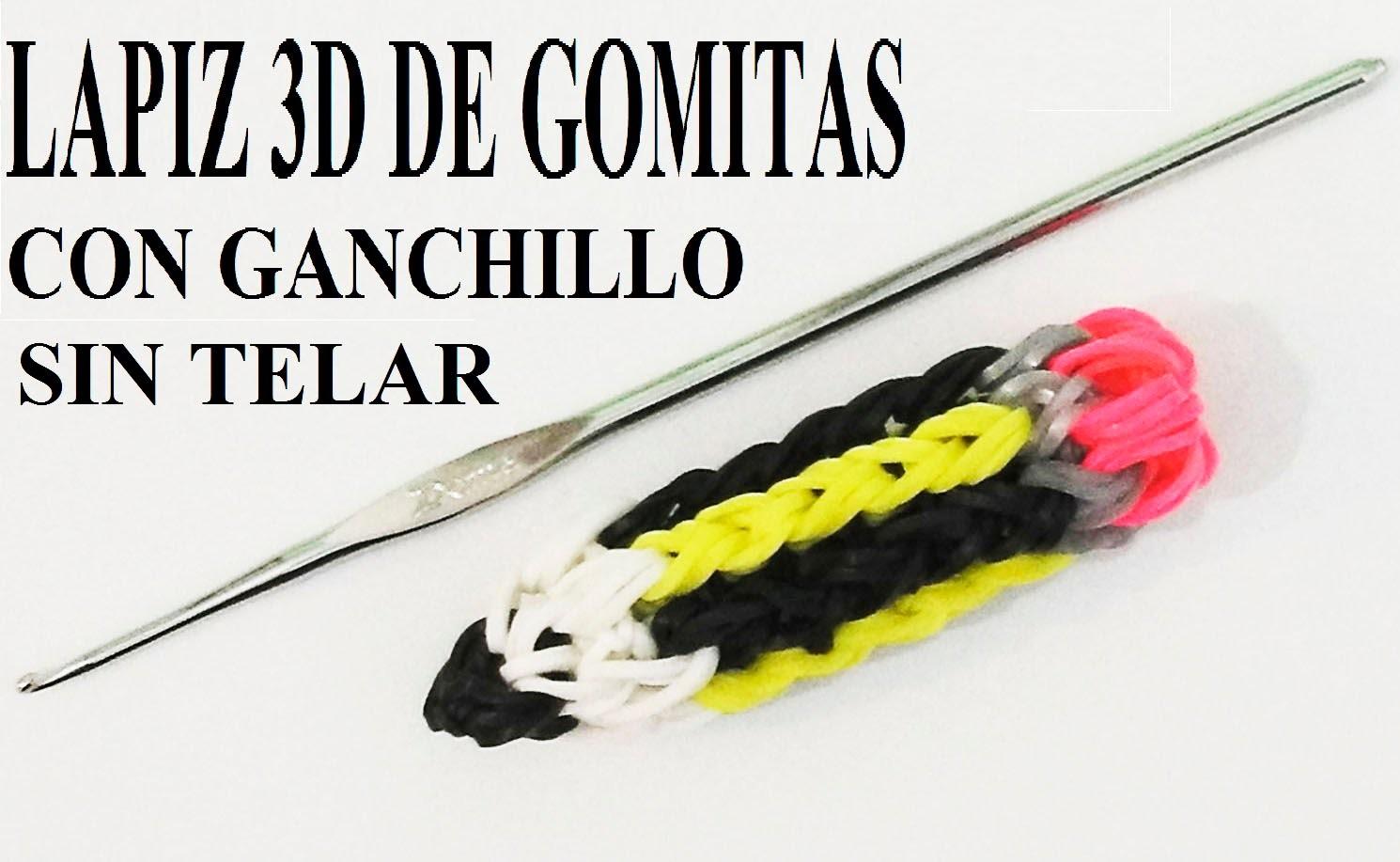 COMO HACER UN LAPIZ 3D DE GOMITAS SOLO CON GANCHILLO, SIN TELAR FIGURA LAPICERO 3D