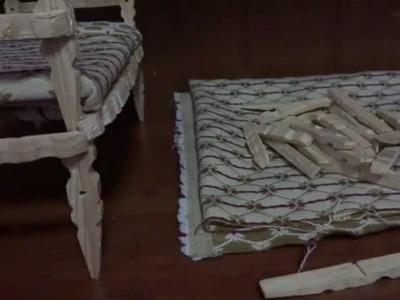 Como hacer una cama con pinzas de madera para tu muñeca