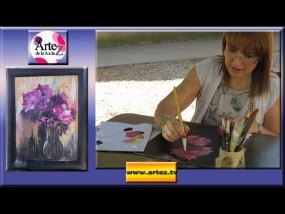 Cómo pintar flores sobre un fondo oscuro