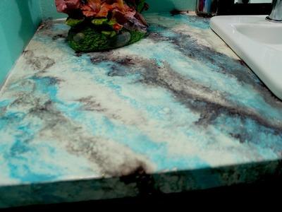 Cubierta de concreto para cocina, baño o patio acabado marmoleado