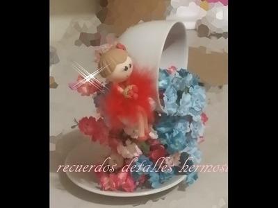 DIY Como hacer taza cascada de flores quince años