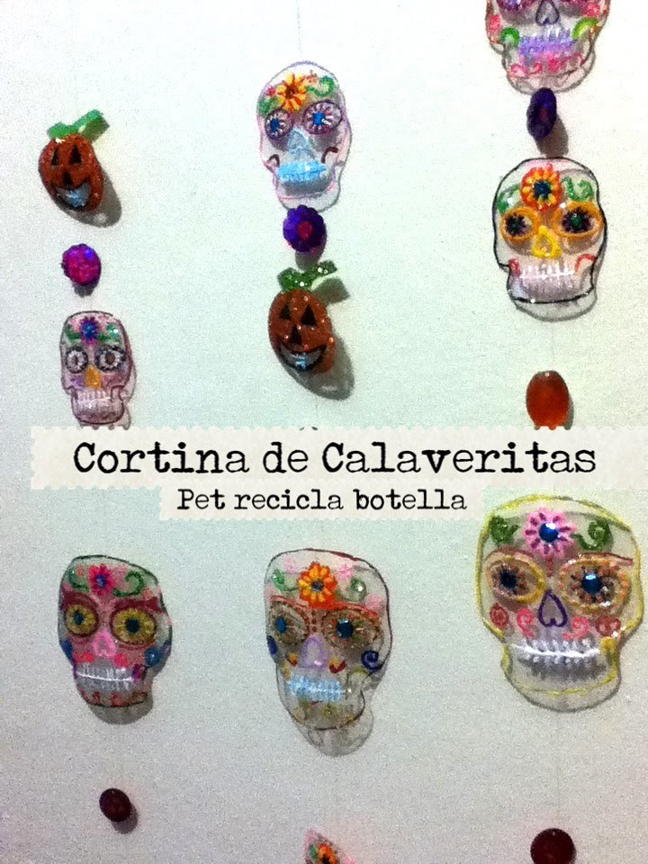 DIY Recicla botella plástico PET cortina para día de muertos recycled plastic bottle halloween