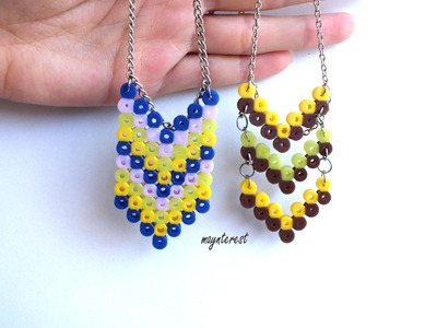 Manualidades DIY: 2 COLLARES distintos de perler beads (hama beads) | Necklaces