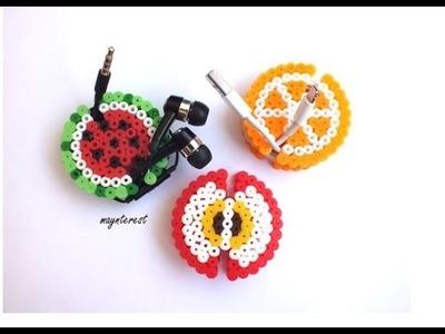 Manualidades DIY: Frutas ENROLLACABLES de perler beads (hama beads)