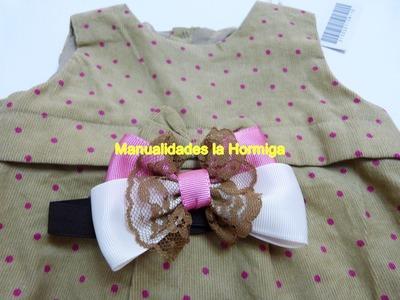 Moños pequeños en cinta  y encaje especiales para bebes pequeñas