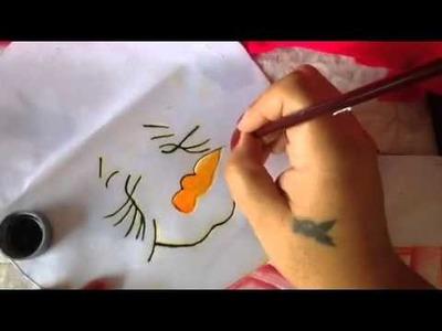 Pintura en tela muñeco de nieve # 5 con cony