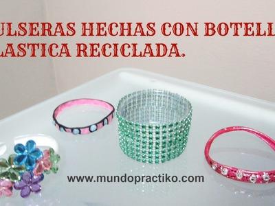 PULSERAS DE BOTELLA PLASTICA RECICLADAS - MANUALIDADES
