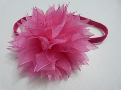 D.I.Y. Organza Pom-Poms tutorial para el cabello. Moños flores paso a paso