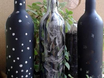 Botella de vidrio decorada con estrellas paso a paso