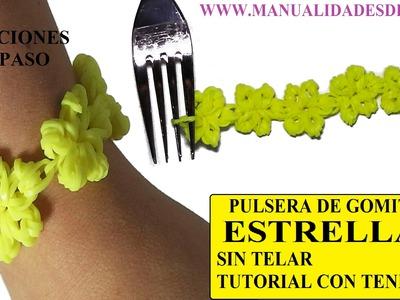 Como hacer pulseras de gomitas. Pulsera ESTRELLAS de gomitas sin telar, con tenedores.