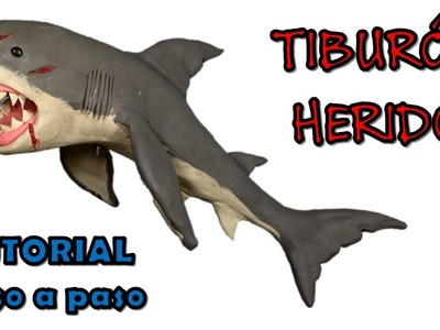 Como hacer un tiburon herido de plastilina.  How to make a wounded shark with clay
