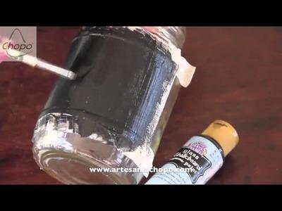 Cómo persoalizar botes de cristal con pintura tiza chalky board