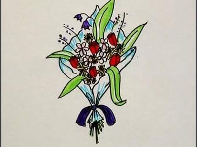 Cómo se dibuja un ramo de flores