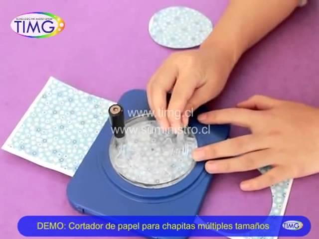 DEMO: Cortador de papel para chapitas múltiples tamaños