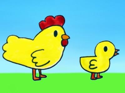Dibujar es Fácil: Como dibujar una gallina y un pollito