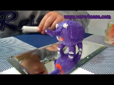 Manualidades como hacer un elefante con papel maché y huevo