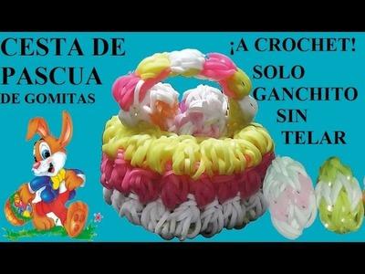 COMO HACER UNA CESTA DE PASCUA DE GOMITAS A CROCHET, SIN TELAR, SOLO GANCHILLO