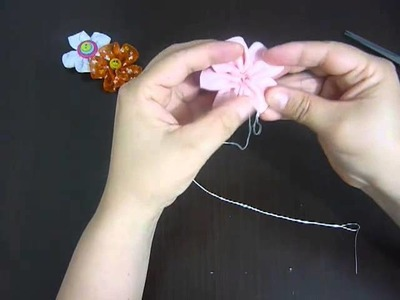Como hacer una flor en cinta paso a paso . video No.043.Manualidades la hormiga