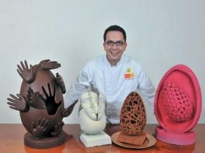 Escultura de chocolate con  Jose Ramon Castillo